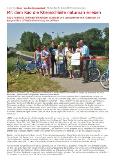 Einweihung einer von VAR+ geplanten touristischen Radroute