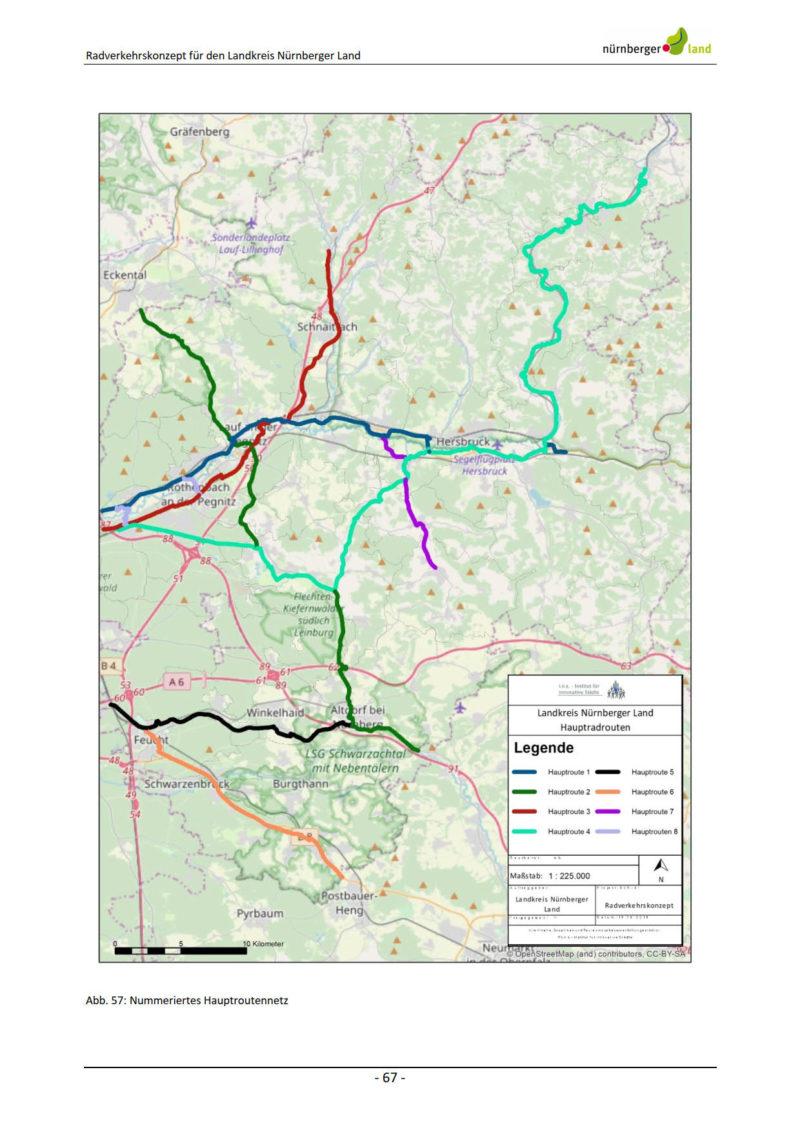 hauptrouten im Radverkehrskonzept für den Landkreis Nürnberger Land