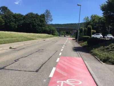 Markierungslösung aus dem Radverkehrskonzept Aalen