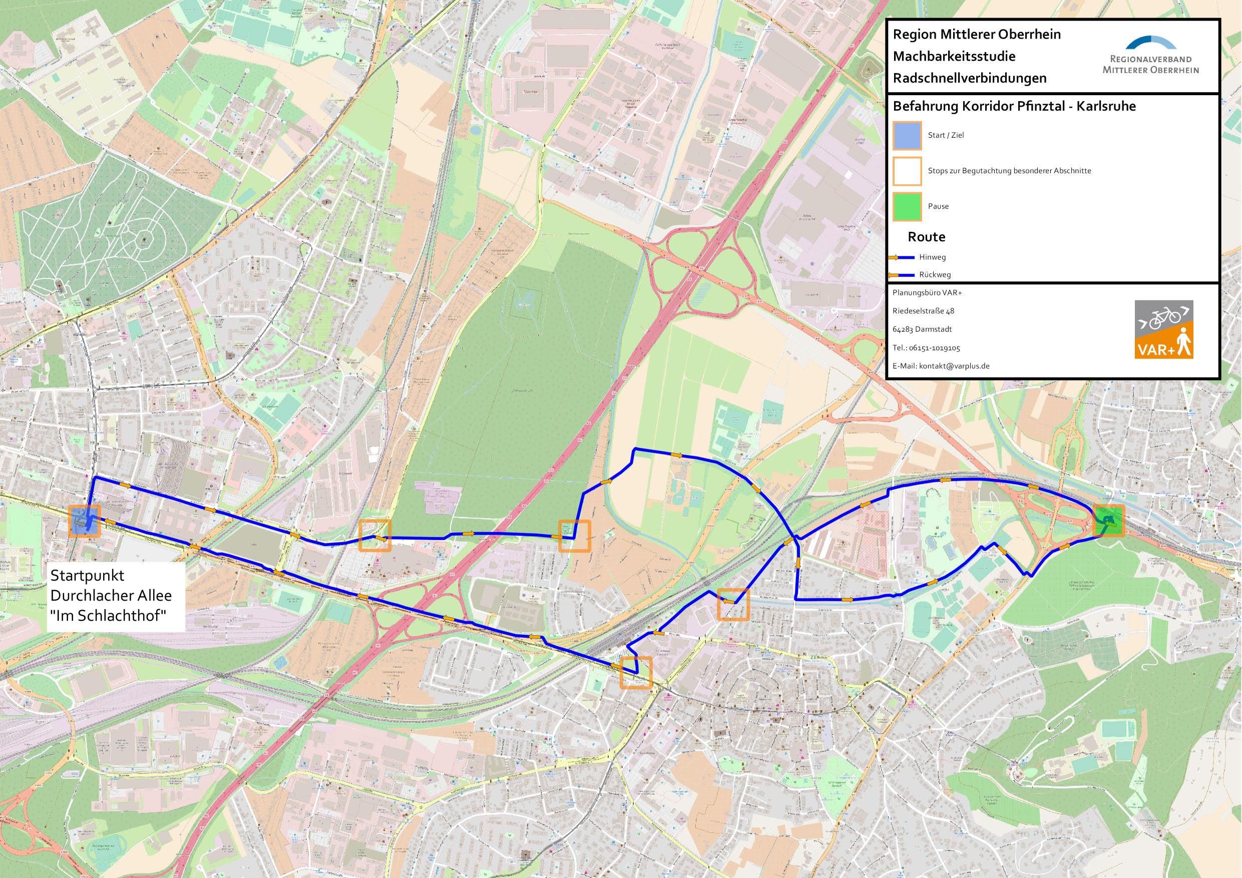 Befahrung möglicher Strecken des Radschnellwegs Karlsruhe - Pfinztal