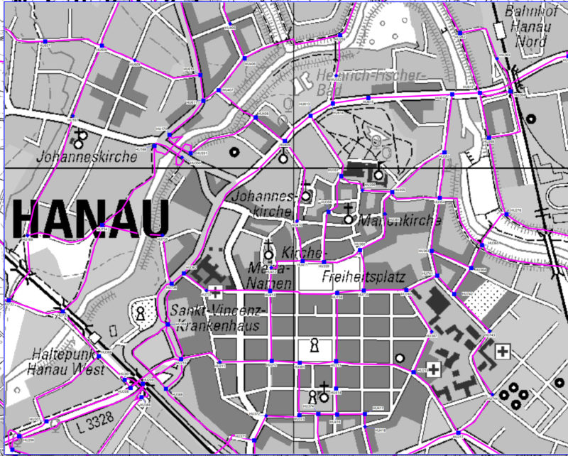 Ausschnitt aus dem Katasterübersichtsblatt zur Lage der Radwegweiserstandorte
