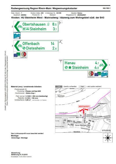 Katasterblatt zur Radwegweisung, Seite 1