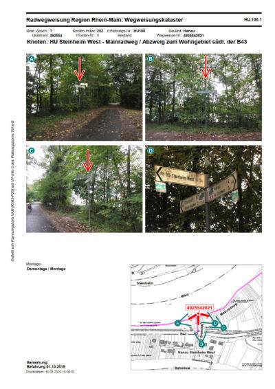 Katasterblatt zur Radwegweisung, Seite 2